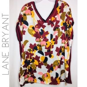 3/$50 Lane Bryant silk floral Vneck top 1X 14 16
